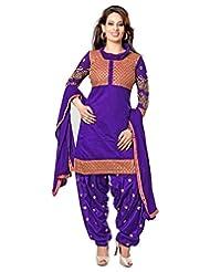 Dhanlaxmi International Violet Color Casual Wear Embroidered Chanderi Semi-Stitched Salwar Suit-C919DL2011SA