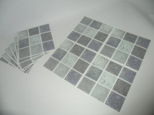Mosaic tile transfers stickers grey silver stone effect. quickly transform your bathroom or kitchen wall tiles, self adhesive, quick and mess free by paper theme