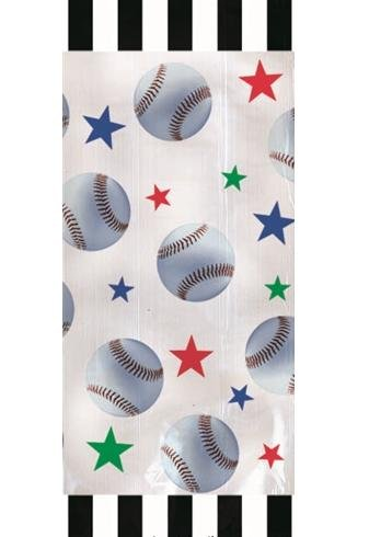 Baseball Large Cello Treat Bags with Green Twist Ties - 20/Pack