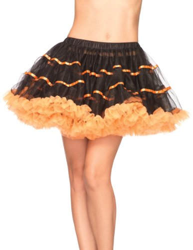 Women'S Striped Tutu- Black/Red *** Product Description: Layered Satin Striped Tulle Petticoat. Black And Red. One Size Fits Most Adult Women. ***