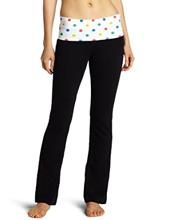 Southpole Juniors Polka Dot Yoga Pants, Black, Medium
