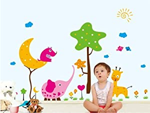 Salala Cartoon Elephant Giraffe Tree Moon and Sun DIY Removable Nursery Room Wall Decals Sticker from Salala