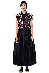 Umbar by Payal Pratap Women's Pleated Skirt (05ON26_Black-Large)