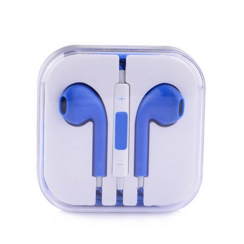 Earphone Headphone With Mic And Volume Control In Retail Box For Iphone 4/4S/5-Blue