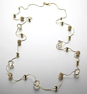 Gold Plated Snail Diamanté Long Necklace