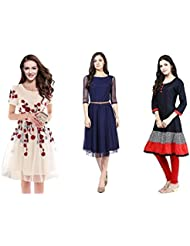 Maxthon Fashion Women Reguler Wear Kurtis(Combo Pack Of 3) (Max_Kurtas_5204)(Max_Off White_5057)(Max_Blue_5055...