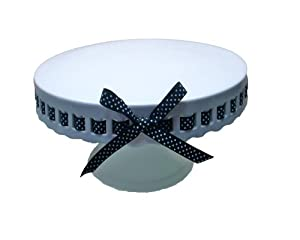 Gracie China by Coastline Imports 10-Inch Round Porcelain Skirted Cake Stand, Black and White Polka Dot Ribbon