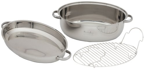 22 Qt Oval Roaster Surgical Stainless Steel Ti Cookware Pan w/ Dome Lid for Roasting in the Oven or Stovetop Cooking 1.2mm 24 Elements 17 ¾ Inch Large Enough for Cooking Baking Grilling or Serving