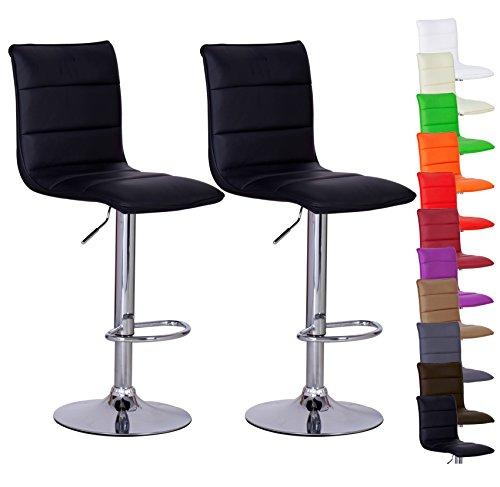 Barhocker-2er-Set-Schwarz-verchromter-Stahl-und-hochwertiger-Kunstleder-hhenverstellbarer-Barstuhl-Kchenhocker-BH15sz-2