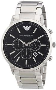 Emporio Armani AR2460 - Reloj cronógrafo de cuarzo para hombre, correa de acero inoxidable color plateado