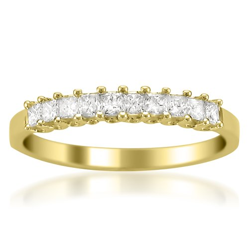 14k Yellow Gold Princess-cut Diamond Bridal Wedding Band Ring (1/2 cttw H-I I1-I2)