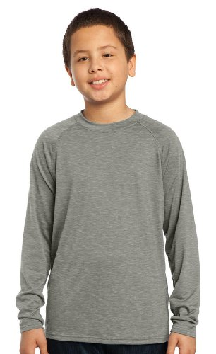 Sport-Tek Youth Soft Long Sleeve Performance T-Shirt_Heather Grey_Medium front-98455