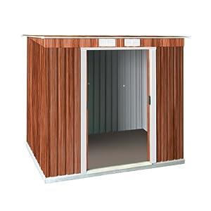 gartenhaus zde tepro 7210 metallger tehaus holzoptik pultdach 8 x 4. Black Bedroom Furniture Sets. Home Design Ideas