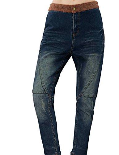 Elf Sack Womens Winter Jeans Partition Design Wash Piecing Medium Size Blue