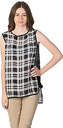 Unimod Women's Polyester Regular Fit Top (U077_Black_XL, Black, XL)
