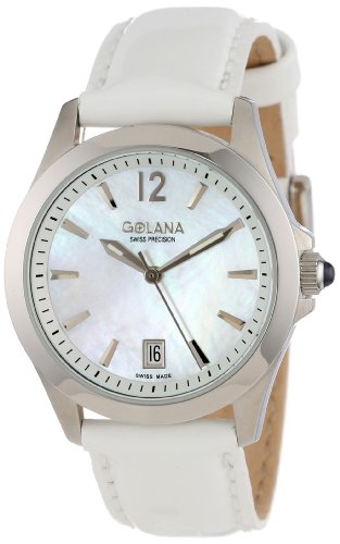 Golana Swiss Women's AU100-7 Aura Pro White Mother-of-Pearl Dial Leather Women's Watch