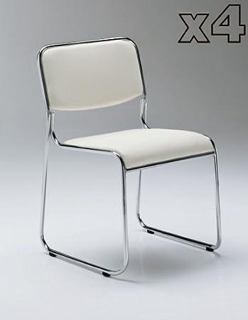 Partido Tomasucci conjunto de 4 sillas en cuero de imitación blanco