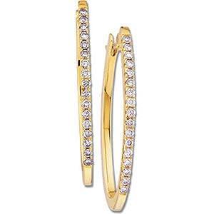 IceCarats Designer Jewelry 14K Yellow Gold 14K Yellow 1/2 Ctw Diamond Hoop Earrings.