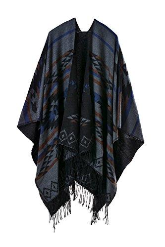 Inverno reversibile donna oversize coperta Poncho Cape Scialle Sciarpe Grey F