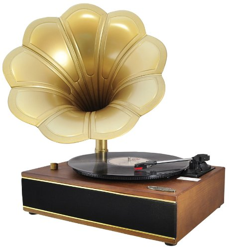 Pyle Home PNGTT1T Classic Horn Phonograph/Turntable with USB-To-PC Connection and Aux-In (Maple)