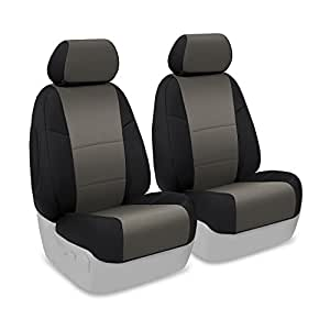 Coverking Custom Fit Front 50/50 Bucket Seat Cover for Select Toyota Corolla Models - Neosupreme (Charcoal with Black Sides)