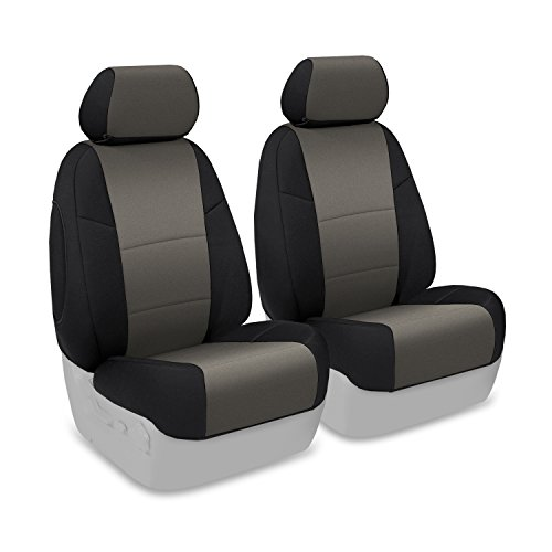 Coverking Custom Fit Front 50/50 Bucket Seat Cover for Select Toyota Tacoma Models - Neosupreme (Charcoal with Black Sides) (Toyota Tacoma Custom Seat Covers compare prices)