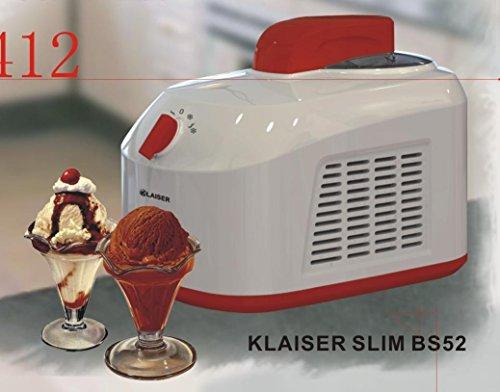 Klaiser SLIM BS52 Turbine à Glaces professionnelle Livré avec Livre de 62 Recettes