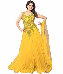 Women's Net Semi Stitched Yellow Fancy Partywear Gown