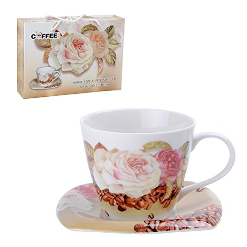 New Bone China Teacups or Coffee Cups and Saucers Set of 6 White Roses