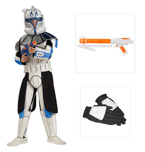 Star Wars Deluxe Clone Trooper Leader Rex Child Costume (S), Gloves and Blaster