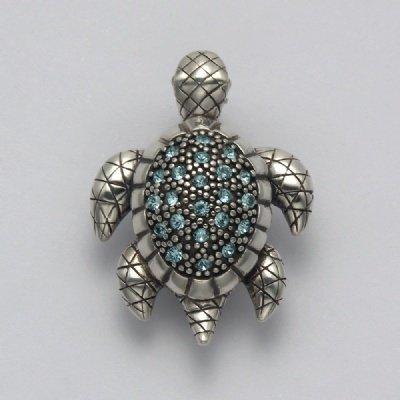 Aqua Crystal Sea Turtle Pin