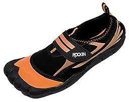 Rockin Footwear Womens Aqua Foot Water Shoes, Orange, 7 (B)M US