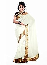 Clothsguru Women's Georgette Saree with Blouse Piece (White)