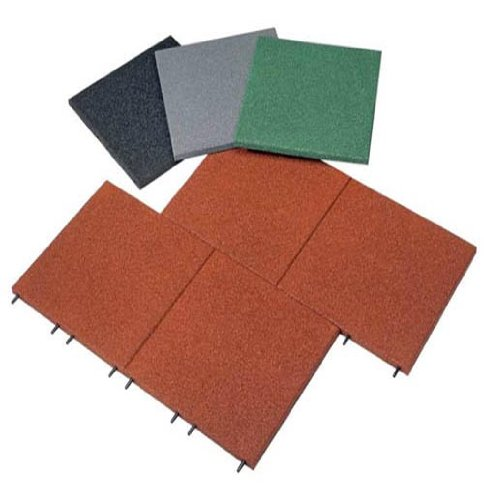 Soft & Safe Interlocking Rubber Safety Mats - 1 sqm - 25mm thick - green