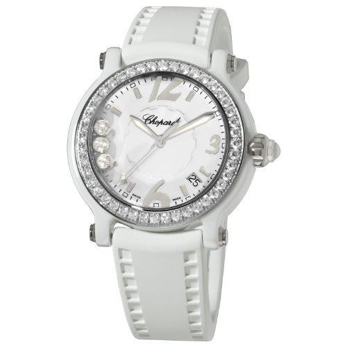 Chopard Happy Sport Round Women's White Ceramic Quartz Watch 288507-9012