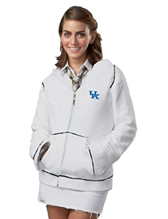 NCAA University of Kentucky Kashwere U Full-Zip Hoodie (White Navy, Large 8-10) by Kashwere U