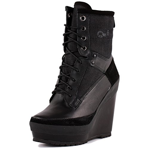 G-Star Raw Romero Marker Wedge Mix Womens Leather & Denim Wedge Ankle Boots Black - 41