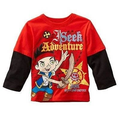 Disney Jake And The Never Land Pirates Little Boy Long Sleeve Red Shirt