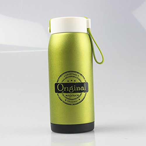 Just Life U-01225 Vacuum Insulated Stainless-Steel Thermos Backpack Water Bottle 12.3-Ounce (Green)