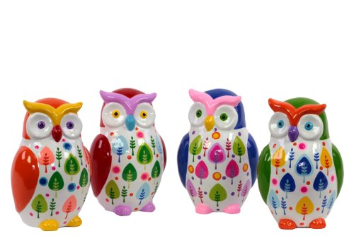 Urban Trends 46622 Decorative Ceramic Owl Money Bank, Set of 4