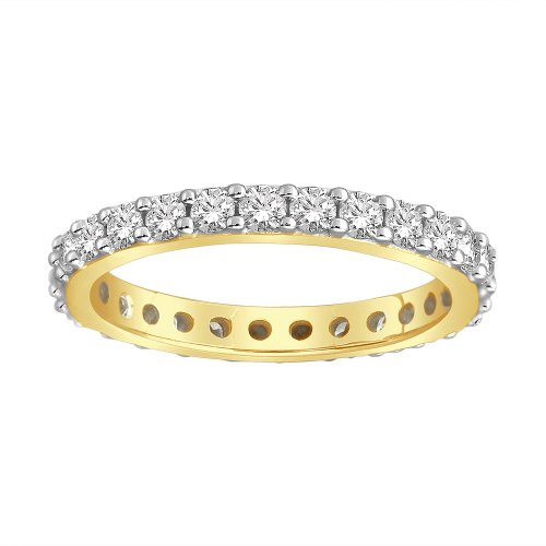 14k Yellow Gold Bead-Set Diamond Eternity Ring (1.00 cttw, H-I Color, I1-I2 Clarity), Size 7