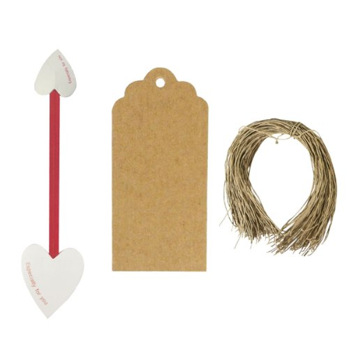 Wrapables Set of 50 Heart Twist Ties with 20 Scalloped Gift Tags/Kraft Hang Tags and Free Cut Strings for Baked Goods, Cake Pops, Party Favors, for Sealing Goody and Treat Bags, and Cello Bags