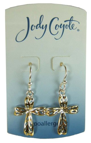 Jody Coyote Silver Gold Filigree Cross Drop Earrings