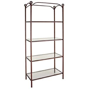 Grace 36 inch display style etagere glass - Glass free standing shelves ...