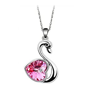 niceeshop(TM) Love Heart Shape Crystal Bling Rhinestone Swan Pendant Drop Necklace Jewelry-Hot Pink