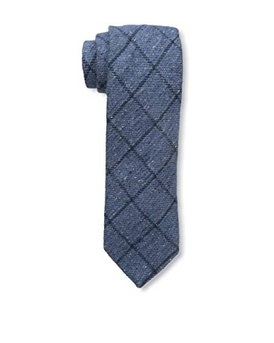 J.McLaughlin Men's Windowpane Wool Blend Tie, Blue