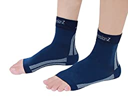 Foot Sleeves (1 Pair - Navy M) Best Plantar Fasciitis Compression for Men & Women - Heel Arch Support/ Ankle Sock