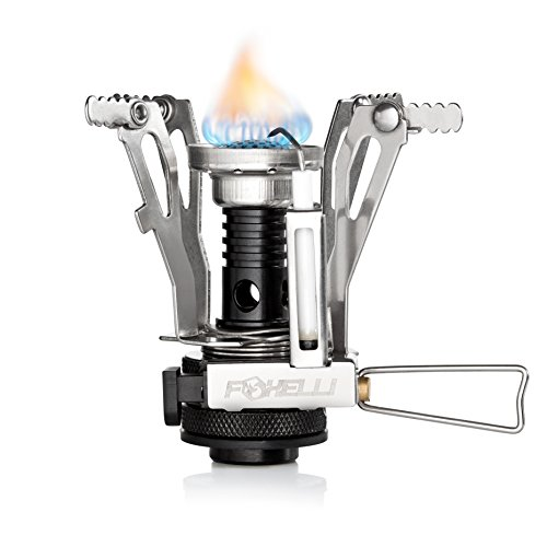 Foxelli Camping Stove with Piezo Ignition System - Lightweight, Portable, Collapsible, Best Camp Stove for Outdoor, Backpacking, Hiking, Survival, Compatible with most Butane Propane Gas Canisters (Countertop Gas Burner compare prices)