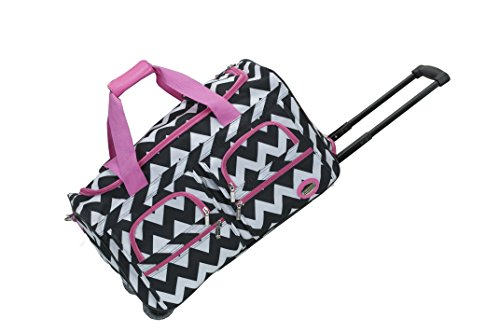 Rockland 22 Inch Rolling Carry On Duffle Bag, Pink Chevron