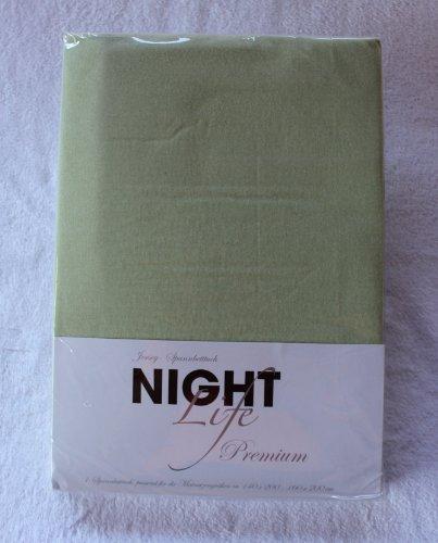 NightLife Jersey Spannbettlaken Farbe lindgrün grün Größe 180 x 190 bis 200 x 200 cm Spannbettuch Spannlaken mit Rundumgummi 100% Baumwolle